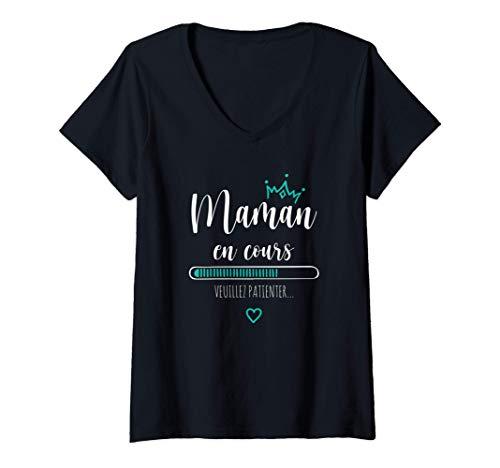 Femme Future Maman en Cours Annonce Grossesse Loading bébé 2021 T-Shirt avec Col en V