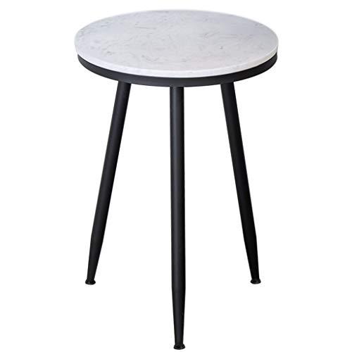 Mesa auxiliar redonda de café, escritorio de mármol, hierro forjado de tres patas, balcón, sala de estar, color negro