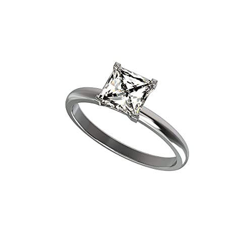 Anillo de aniversario de boda de diamante simulado de corte princesa de 1 quilate de grado AAA para mujer en plata de ley chapada en oro (tamaño del anillo 50)