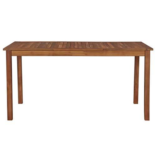 Cikonielf Tavolo da Giardino in Legno Massello 150 x 90 x 74 cm Tavolo da Pranzo Retro in Legno Massello di Acacia Tavolo da Picnic