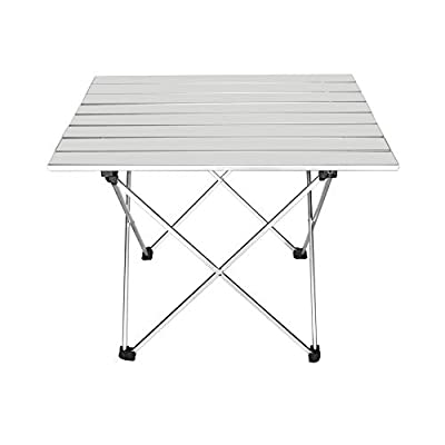 """Outry Lightweight Aluminum Folding Table, Portable Camp Table, Outdoor Picnic Camping Backpacking Beach Patio Collapsible Foldable Table (Silver, Large - Unfolded: 27"""" x 18.3"""" x 15.7"""")"""