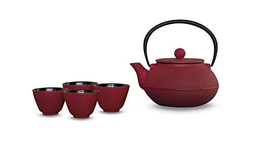 WD LIFESTYLE - Juego de tetera de hierro fundido con filtro de 600 ml y 4 vasos de 50 ml - Color rojo