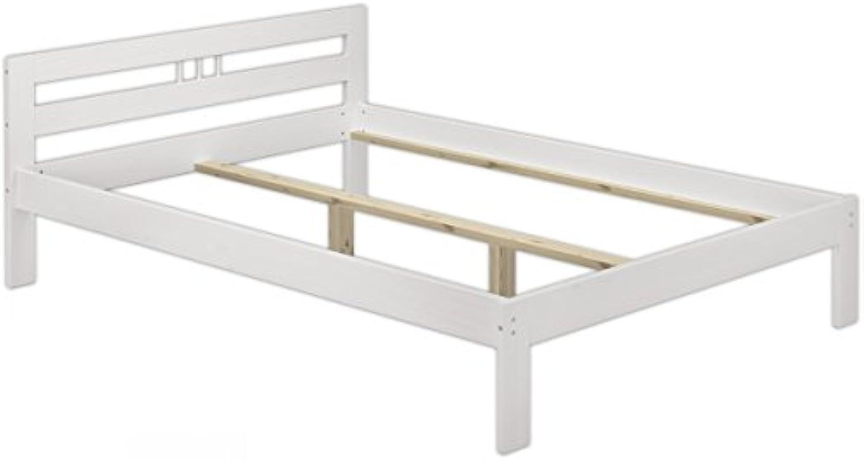 Erst-Holz Bettgestell Kiefer massiv wei Doppelbett 140x200 Franzsisches Bett ohne Rollrost 60.64-14 W oR