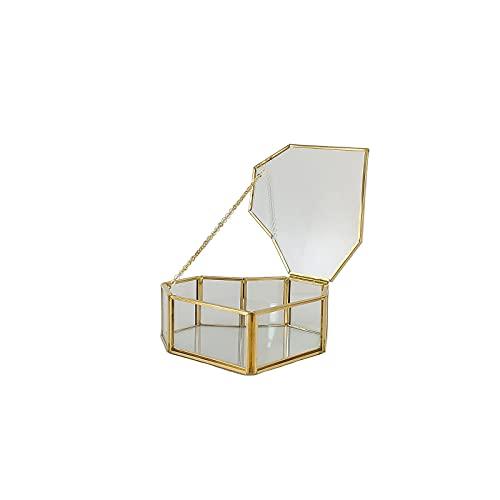 Caja de joyería de cristal portátil Golden Geométrico Organizador de moda en forma de corazón de vidrio vintage contenedor terrario joyería caja de exhibición de mesa para decoración de mesa del hogar
