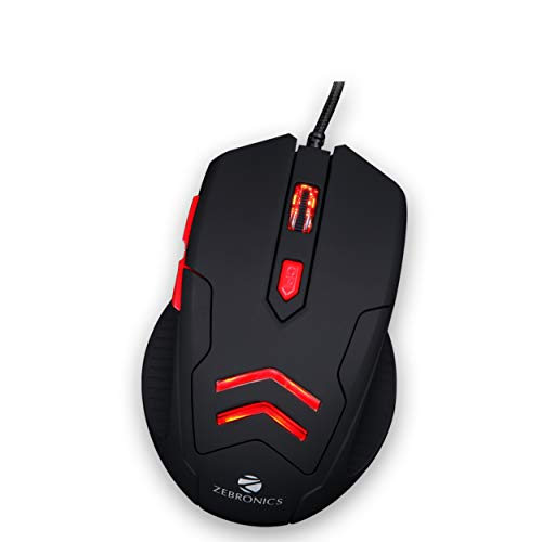 Zebronics Zeb Feather - Premium USB Gaming Mouse with 6 Buttons, Upto 3200 DPI and Anti Slip Mouse Pad