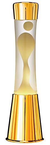 7even Lavalampe 40cm Weiß/Klar/Magma Lampe Gold Inkl. Lampe und Leuchtmittel Tolles Retro-Geschenk aus goldfarbigen Gehäuse