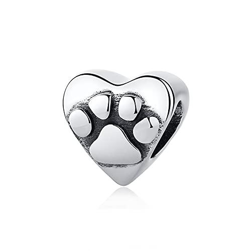 Pandora 925 colgantes de plata esterlina Diy nuevos abalorios encantos de huella de perro encantos de corazón se ajustan a pulseras y brazaletes collares joyería de mujer