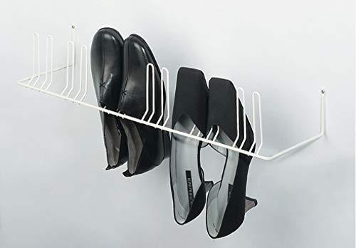 Gedotec Schuhablage Wand-Montage Schuhhalter Garderobe Schuhregal zum Schrauben | Halterung für 4 Paar Schuhe | Breite: 420 mm | Metall RAL 9010 rein-weiß | 1 Stück - Schuh-Aufhänger für Flur & Diele