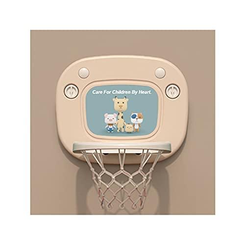 Tablero de Baloncesto Aro de Baloncesto con Forma de Dibujos Animados para niños, Juguete Infantil montado en la Pared del Baloncesto, aro de Baloncesto elevable con Ventosa (Color : Beige)