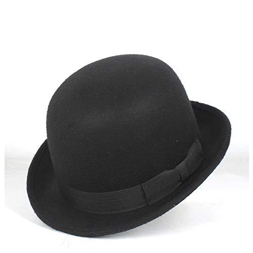 Retro, elegante, moda, clásico bombín Lanas de la manera del hongo for Mujeres Hombres Negro hecho a mano la bóveda del sombrero de Cosplay Topper sombrero de copa del sombrero Fedora Billycock novio