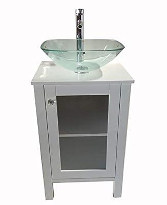"20"" White Samll Freestanding Wooden Bathroom Vanity Bathroom (Square Glass Sink) (White)"