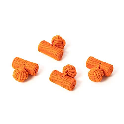 Bull & Drake Paar Manschettenknöpfe Seidenknoten Knoten Knötchen Orange hochwertig Stoffknoten Cufflinks Gentleman Umschlagmanschette Manschette dehnbar London Style (2 Paar)