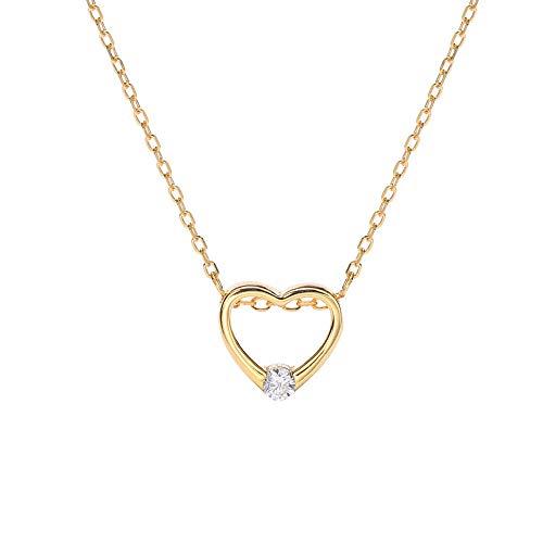 HXUJ Regalo Nupcial 925 Plata esterlina Delgada Cadena de Oro Collar corazón Hueco Diamante Solitario joyería de Compromiso para la Esposa Nupcial