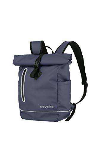 Travelite Basic Series Roll-Up Backpack Waterproof Material Luggage Backpack Tarpaulin Practical Rucksack with Roll-Up Function 48 cm 19 Litres Navy Blue