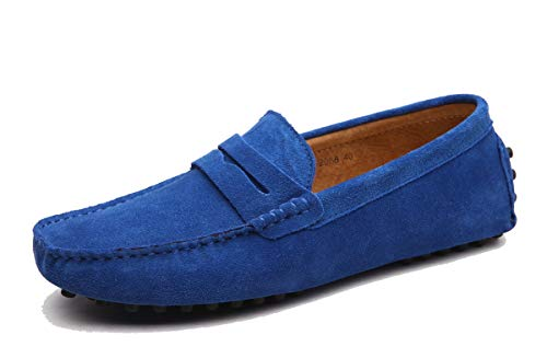 MINITOO Uomo con Fibbia Blu Reale Camoscio Estivi Mocassini Loafers Scarpe YY2088 EU 40