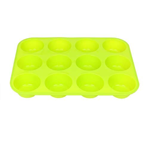 SMXU Eiswürfelschale Runde Silikonmuffinmousse Backkuchenform DIY Eispudding Werkzeug 12 Loch Antihaft-Schokoladenkuchen Tasse