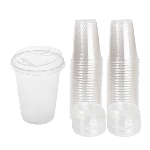 16 0z Compostable Biodegradable Eco Friendly Cups with Strawless Compostable Lids, 50 Pack