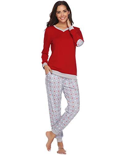 Abollria Pijama Mujer Algodón 2 Piezas Set V-Cuello Conjunto de Pijamas de Manga Larga Jogging Estilo Ropa de Dormir (S=EU(38-40), Rojo)