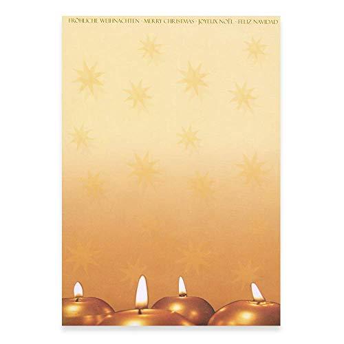PapierDirekt - 100 Blatt 4 runde Kerzen A4, Weihnachtsmotiv, DIN A4, 100 g/qm