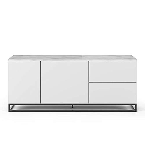 Buffets Design et élégants, Collection Join, signée TEMAHOME. - Join 160L2, piétement Acier Noir, Blanc Mat, Plateau en marbre Blanc