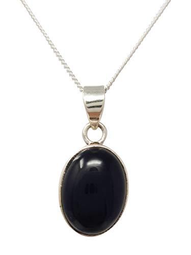 Treasurebay - Colgante de ágata negra y plata de ley 925 en cadena, colgante de gema redonda para mujer