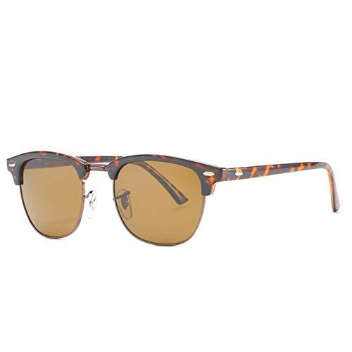 HDSJJD Hombres Y Mujeres Moda Gafas De Sol Polarizadas Retro Medio Marco Conducción Clásica Al Aire Libre UV400,C