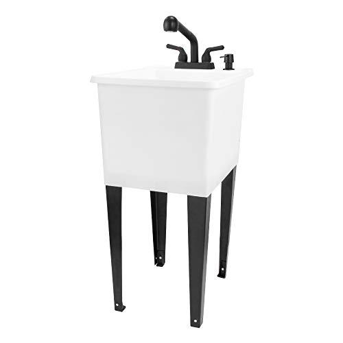 White Space Saver Utility Sink by JS Jackson Supplies, Freestanding Tehila Space Saving Laundry Tub, Black Pull-Out Faucet, Soap Dispenser