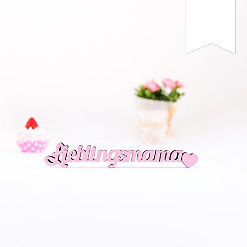 KLEINLAUT 3D-Schriftzug Lieblingsmama in Größe: 10 x 1,6 cm - Dekobuchstaben - 32 Farben zur Wahl - Weiß