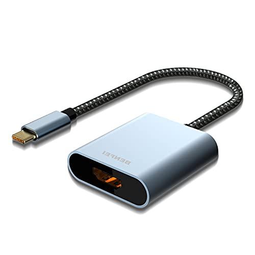 Adattatore USB C a HDMI 4K, BENFEI Thunderbolt 3 a HDMI con MacBook Pro 2019/2018/2017, MacBook Air/iPad Pro 2019, Samsung Galaxy S10/S9[Guscio in alluminio e cavo in nylon]