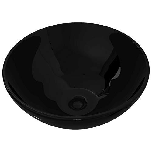 vidaXL Lavabo de Baño Moderno Redondo Cerámica Negro Brillo Lavamanos de Aseo