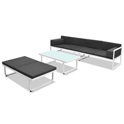 Lasamot Set de Muebles de jardín 4 Piezas y Cojines Comedor Exterior Conjunto de jardín terraza Muebles de jardín Comedor Juego Conjunto de Sillas Aluminio Negro