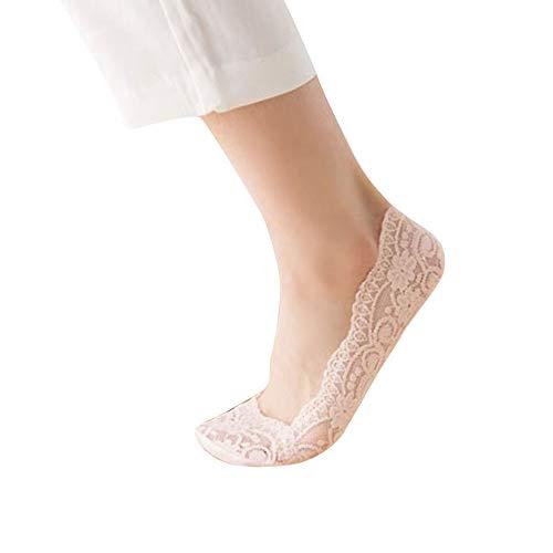 Amphia Koreanische Version der Spitze Boot Socken Mund unsichtbare Spitze dünne kurze Socken,Baumwolle Mishung Spitze ANTISKID unsichtbare Low-Cut-Socken Zehen Knöchel Socke