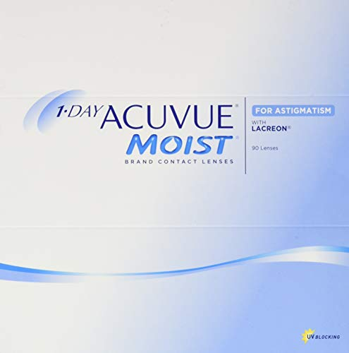 Acuvue 1-Day Acuvue Moist For Astigmatism Tageslinsen weich, 90 Stück/ BC 8.5 mm / DIA 14.5 mm/ CYL -2.25 / ACHSE 110 / -0.5 Dioptrien