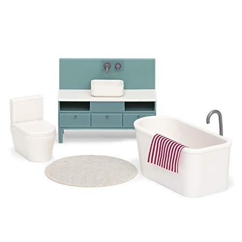Lundby 60-305700 - Badezimmer Puppenhaus Weiss/grau - Möbelset 5-teilig - Puppenhauszubehör - Möbel - Badewanne - Toilette - WC - Badmöbel - Zubehör - ab 3 Jahre - 11 cm Puppen - Minipuppen 1:18