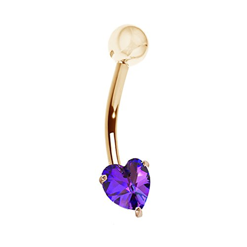 Ritastephens 14k Solid Yellow Gold Amethyst Heart Belly Button Ring