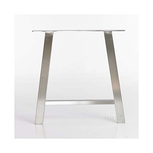 mina concept Tischgestell A-Form modern I 60 x 60 mm Profil I hochwertiger Edelstahl gebürstet I 72 cm hoch I Indoor & Outdoor I Untergestell für ESS-, Schreib-, Gartentisch etc, 1 Stück