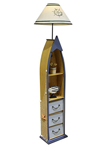 Staande lamp met planken, 3 Lagen Houten Lade Edition Standing Light, Modern Reading Lamp for de slaapkamer, woonkamer, Office, Home Decoration (Zonder Bulb)