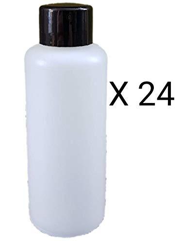 Jeffersons 24 X 65ml plastic fles HDPE met zwarte schroefdop klein reisformaat