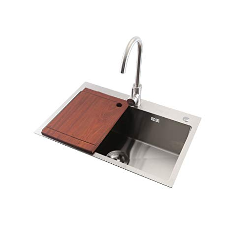 BASIN 201 Stainless Steel Einzel Schüssel Küchenspüle Einbaubecken Big Bereich Waschtische Mit Tap (L 650 X B 450 X D 220 Mm) mp413