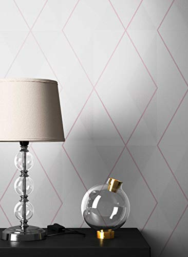 NEWROOM Tapete grafisch Weiß Geometrisch Grafik Vliestapete rosa Vlies Grafiktapete Modern inkl....