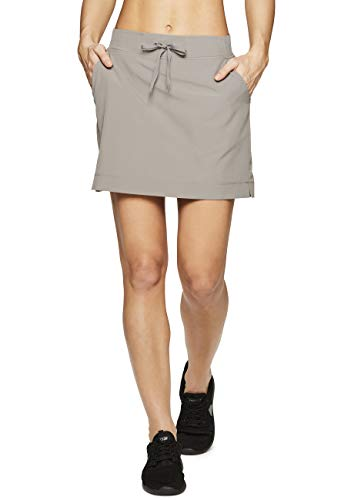 RBX Active Women's Fashion Stretch Woven Drawstring Waist Golf/Tennis Athletic Skort with Attached Bike Shorts and Pockets New S19 Taupe XL