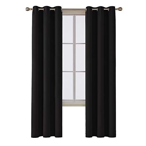 Deconovo Solid Room Darkening Thermal Insulated Blackout Grommet Window Curtain for Living Room, Black, 42x95 Inch, 1 Panel