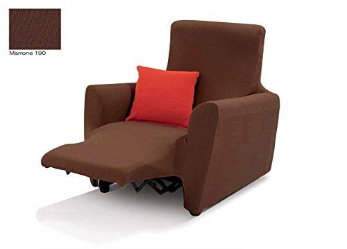BIANCHERIAWEB Copripoltrona Reclinabile Easy Long Sofa Cover in Tinta Unita Poltrona Marrone 190