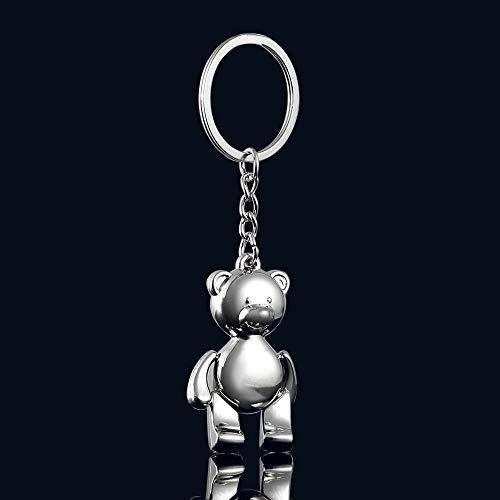 Neaer Keychain Metal Movable Teddy Bear Keychain I3D Animal Alloy Kering Women Car Handbag Charm Accessory for Girl Key Ring Key Ring (Color : 1)