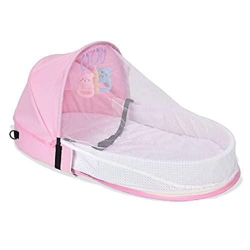 Biaogui Cama De Bebé Plegable, Cuna Portátil del Bebé del Bebé, Durmiente Infantil con Toldo Y Mosquitera, Fácil De Transportar Y Abrir,Rosado
