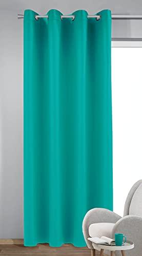 Homemaison - Tenda Oscurante Tinta Unita, Poliestere, Petrolio, 245 x 140 cm