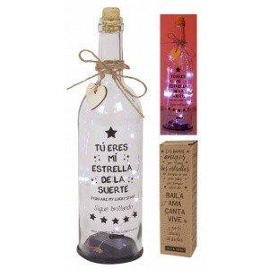 Botella DE Cristal para Regalo Original. Contiene LUZ Interior Y Mensajes Especiales para Todo Tipo DE Ocasiones. (Eres MI Estrella)