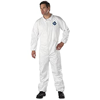 Dupont TY125S Tyvek White Disposable Coverall Elastic Wrists Ankles Size XL