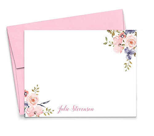 Personalized Floral Stationery Set, Stationery for Women, Personalized Thank You Cards, Personalized Note Cards, Your Choice of Colors and Quantity