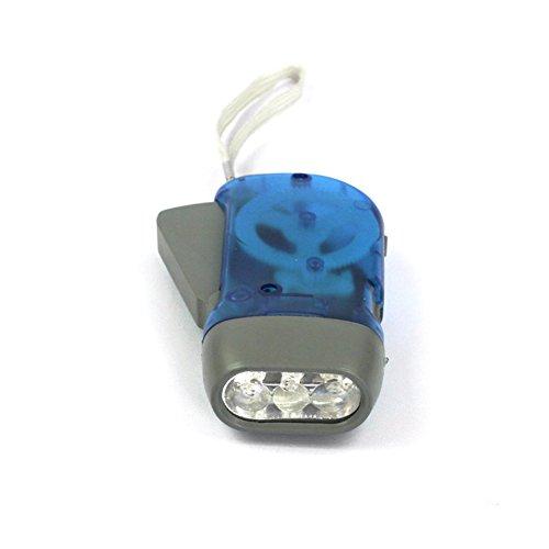 Handdruck-Taschenlampe, 3 LEDs, Dynamo, Aufzieh-Taschenlampe, keine Batterie, wiederaufladbare LED-Notfall-Taschenlampe, für Outdoor-Sport, Camping (blau)